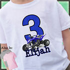 BLUE ATV QUAD BIRTHDAY SHIRT PERSONALIZED NAME AGE DIRTBIKE OFFROADING