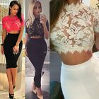 HOT Sexy Women Lace Floral Hollow Out Short Sleeve Crop Tops Short Blouse JTOO