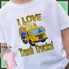 I LOVE TRASH TRUCKS SHIRT CUSTOMIZED TSHIRT PERSONALIZED YELLOW GARBAGE TRUCK