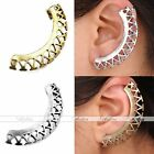 Punk Hollow Crescent Carved Flower Ear Cartilage Cuff Wrap Clip On Earring Gift