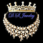 Pearls & Clear Swarovski Crystal Rhinestones Golden Neklace & Crown / Tiara Set