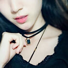 Vintage Retro Gothic Crystal Plain Black Velvet Choker Boho Necklace Chain
