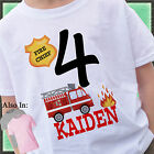 FIRETRUCK BIRTHDAY SHIRT PERSONALIZED NAME AGE FIRE TRUCK FIREMAN