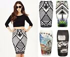 Womens Tube Stretch Pencil Skirt Bodycon Monochrome Aztec Tribal Girls Skirts