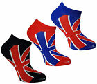 Unisex Trainer Socks Union Jack Design Mens Womans Funky Summer Liners (3 pack)