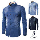 New Vintage Men's Jeans Casual Slim Fit Stylish Long Sleeve Denim Shirts Casual