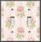 Switch Plate Cover - Light Pink Green Victorian Rose Home Decor/Nursery Decor