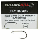 Fulling Mill 35075 Short Shank Black Nickel Barbless Fly Tying Hooks
