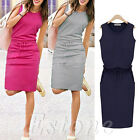 Women Summer Sport Pocket Slim Dress Casual Mini Sleeveless Lacing Evening Short