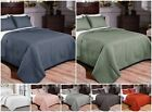 Vintage Washed Solid 100% Cotton Quilt and Shams Set Gray, Green, Orange, White