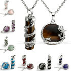 2x Dragon Wrap Cylinder Oblate Natural Gemstone Pendant Steel Necklace Chain Set