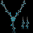 2016 Women Wedding Bridal Jewelry Crystal Rhinestone Necklace Earrings Party Set
