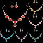 Evening Party Round Crystal Statement BIB Necklace Earrings Prom Jewelry Set