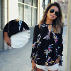 Women's Floral Printing Loose Long Sleeve Shirt Blouse Tops