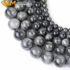 Natural Stone Genuine Gray Hawk Eye Gemstone Beads For Jewelry Making Strand 15""