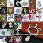 Fashion Animal Silver Charm Crysarl Rhinestone Dangle Pendant For Necklace Chain