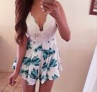 Summer Womens Playsuit Sexy Mini V Neck Printing Flower Jumpsuit Shorts Dress