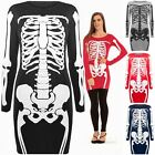Womens Halloween Dresses Ladies Tunic Top Fancy Skeleton Printed Fitted Bodycon