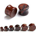 Organic Natural Mahogany Obsidian Stone Ear Tunnel Plugs Double Flared Stretcher