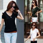 Sexy Womens Short Sleeve Loose Black T Shirt Summer Casual Tops Blouse TXWD