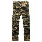 Fashion Men Camo Outdoor Pants Pocket Loose Trousers Military Cargo Work Travel