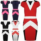 New Womens Ladies Round Neck Contrast Side Panels Bodycon Pencil Midi Dress Top