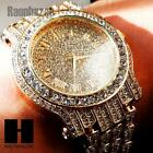 HIP HOP ICED OUT TECHNO PAVE14K GOLD ROSE GOLD SILVER FINISHED LAB DIAMOND WATCH
