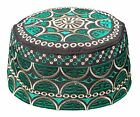 Tall Omani Style Arab Embroidered Kufi Hat Black Base w/ Green and Beige Muslim