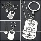 Fashion Family Daddy Mommy Girl Heart Love Puzzle Necklace Keychain Keyring Set
