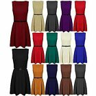 Ladies Sleeveless Tailored Party Dress Womens Belted Flared Pleated Skater Dress