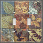 Metal Light Switch Plate Cover - Rustic Leaf Tile Design Copper Green Home Decor