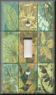 Metal Light Switch Plate Cover - Rustic Leaf Tile Design Green Home Decor Leaves