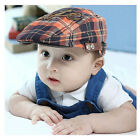 Baby Kids Toddler Plaid Beret Cap Cabbie Casquette Flat Peaked Hat Cap Price Cut