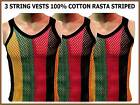 3 Pieces MENS 100% COTTON STRING MESH NET VEST RASTA JAMAICAN STRIPED M L XL