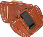 BROWN LEATHER SOB IWB OWB INSIDE OUTSIDE CLIP-ON UNI HOLSTER ~ Pick Your Gun!