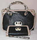 GUESS KIERA Satchel Bag Purse Zip Around Wallet Wristlet Gift Set Woven Genuine
