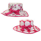 Girls Wide Brim Spotty Summer Hat Pink & White Large Sun Cap With Bow