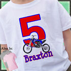 BLUE DIRTBIKE BIRTHDAY SHIRT RED BLUE HIGHLIGHTS NAME AGE DIRT BIKE OFFROADING