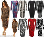Ladies Women Long Sleeve Polka Dot Printed Bodycon Stretch Jersey Midi Dress