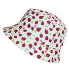 Girls Reversible Ladybird Bush Hat Summer Sun Wide Brim White Cap 100% Cotton