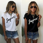 Womens Summer Letter Print Short Sleeve Blouse Casual Tops T-Shirt