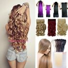 UK Women Natural Clip In Hair Extensions 3/4 Full Head Straight Curly Wavy DG61
