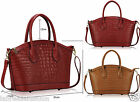 Ladies Fashion Mock Croc Satchel Long Strap Crocodile Alligator Pattern Tote Bag