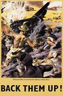 WB59 Vintage WW2 World War II BACK THEM UP North Africa British Poster A3/A4