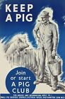 WB68 Vintage Keep A Pig Join Pig Club British WW2 World War II Poster A2/A3/A4