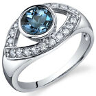 Captivating Curves 1.00 cts London Blue Topaz Ring Sterling Silver Size 5 to 9
