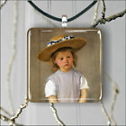 CHILD IN A STRAW HAT ART PAINT BY MARY CASSATT PENDANTS NECKLACE -kjh6Z