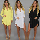 New Women Casual Long Sleeve V-Neck Oversize Loose Chiffon T Shirt Top Blouse