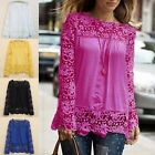 New Women's Summer Lace Blouse Shirts Ladies Long Sleeve Chiffon Tops S-XXXXL