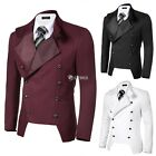 COOFANDY Men Casual Stand Neck Double-breasted Slim Fit Blazer Jacket DZ88